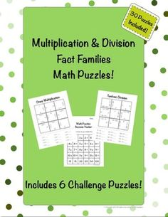 Encourage your students to practice their basic multiplication and division facts with these 30 math puzzles!