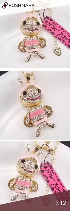 Betsy Johnson Inlaid Rhinestone Bee Necklace CLOSE OUT SALE!!! Beautiful Inlaid Rhinestone And Pink Bee Betsy Johnson Necklace.. she is so adorable!! Her little head turns the the sides and her tiny little feet move.  Betsey Johnson Jewelry Necklaces