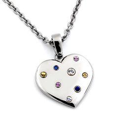 RAINBOW Sapphire Titanium Heart Necklace by Edward Mirell - $349.00 - featuring eight sapphires. #TitaniumJewelry #EdwardMirell #RainbowHearts