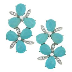 Siman Tu Turquoise Crystal Double Flower Earrings