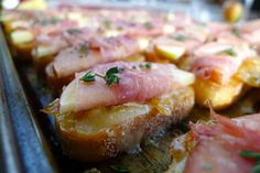 Crostini with Caramelized Onion, Cheddar,and Prosciutto-Wrapped Apples