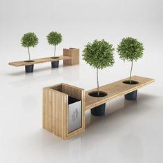 Wooden Eco Design Bench with Integrated Trash Bin 3D Model .max .obj .3ds .c4d