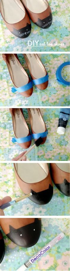 Painted shoes - Cats Fun Do It Yourself Craft Ideas – 50 Pics Do It Yourself Fashion, Do It Yourself Crafts, Cat Shoes, Cat Flats, Diy Accessoires, Painted Shoes, Crafty Craft, Crafting, Diy Fashion