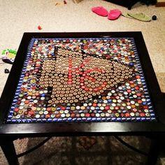 DIY bottle cap table.  Kansas City Chiefs.  Basement conversation piece. Upcycle to make something plain a piece of art.
