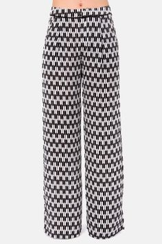 Piazza Perfect Black and White Silk Wide-Leg Pants at LuLus.com!