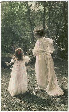 Vintage Postcard ~ Mother & Daughter