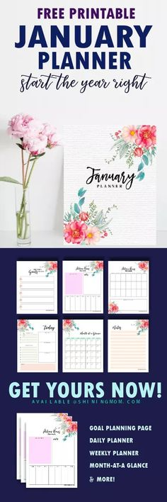 Download this free January 2018 planner to start the year right! #2018 #planner #printable