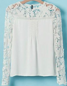 White Long Sleeve Hollow Floral Crochet Blouse