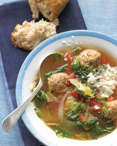 When meatballs meet soup, the result is a total crowd-pleaser. Serve up one of our favorite recipes, and remember -- these should be eaten with both a fork and a spoon. Light Italian Wedding SoupThis delicious take on the classic soup includes lots of greens and dark-meat-turkey meatballs.