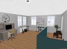 Renderings that show how the interior could be restored for a historic house.