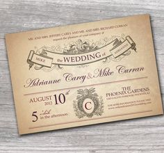 Ornate Wedding Invitation with Rustic French  Style Sample Set FREE Shipping. $3.00, via Etsy.