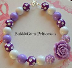 Chunky BubbleGum bead necklace POLKA DOTS Purple Sparkle With rose girl toddler…