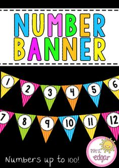 Number PosterA number banner that displays numbers all the way to 100! Simply print this number banner onto card and laminate. Either glue ribbon or hole punch through the top and thread ribbon through for a beautiful and bright display!Can be used to display counting patterns of 5s, 10s etc (colors correspond), numbers up to 20, or however else you'd like to display.key terms:number poster, number banner, number, number chart