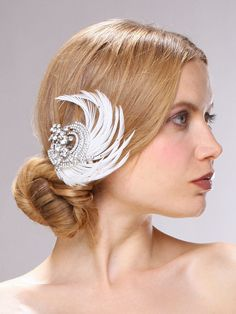 Art Deco Crystal and Ivory Feather Fascinator Gatsby Wedding Hair Clip