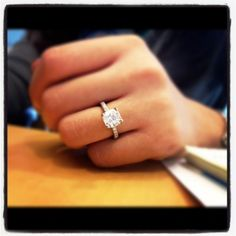 2 ct round cushion cut with micro pave band, no halo. Everything about this is perfection