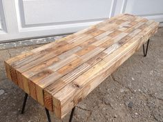 : Small Reclaimed Wood Industrial Bench / Coffee Table to go under the dining table and as extra seating/coffee table Industrial Bench, Industrial Furniture, Rustic Furniture, Diy Furniture, Small Wood Projects, Reclaimed Wood Projects, Home Projects, Diy Desk, Neat Desk