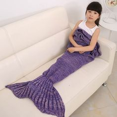 Happy Gifts High Quality Children Throw Bed Wrap Sleeping Bag Four Colors Knitted Mermaid Tail Blanket Handmade Crochet New #Affiliate