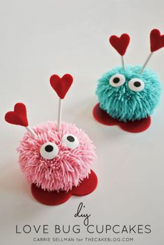 Love Bug Cupcakes:  Give your special somebody these cute little critters for love day.  (Note: You will need a special pastry tip to get the fuzzy texture.)
