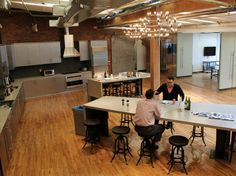 Quirky offices: The kitchen is spacious and still relatively clean and uncluttered