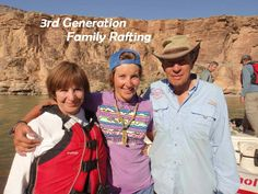 Our founders Dee & Sue Holladay with Grand Daughter Lauren, a Trip Leader.  3rd generation Family Rafting
