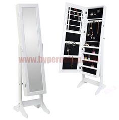 Stojanové zrkadlo biele MIROR 2v1 s úložným priestorom na módne doplnky