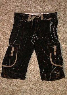 JOHNNY WAS $245 Velvet Silk Cargo Crop Pants Dark Brown sz M