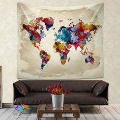 World Map Tapestry - gorgeous watercolor on fabric! Love this idea for dramatic wall art! From artbedding.com!