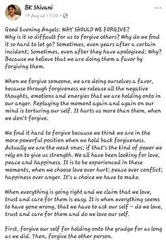 Spiritual Quotes, Wisdom Quotes, Bk Shivani Quotes, Brahma Kumaris, Om Shanti Om, Sister Quotes, Forgiveness, Letting Go, Truths