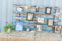 Family photo wall from Jocelyn and Wills Hot Pink Dairy Farm Wedding