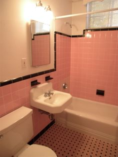 how to decorate pink bathroom room 1940's - Google Search