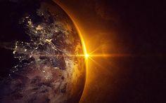 Scarica sfondi Terra, pianeta, spazio, alba, città dallo spazio, Africa, continenti