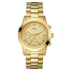 New 2013 Guess Gold Tone Stainless Steel Bracelet Chrono U13578L1 Women's Watch