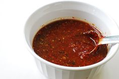 Korean bulgogi marinade. Ingredients: gochujang red chilli pepper paste, dried chilli pepper flakes, soy sauce, rice wine or mirin, sugar, sesame oil, garlic, ginger, pepper. Recipe from rasamalaysia.