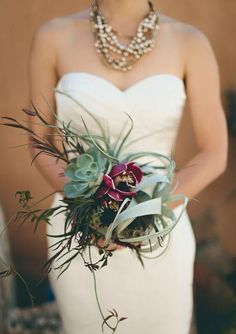 Bridal Bouquet with Tillandsia xerographica. #Wedding #Inspiration #Bouquet #Airplantsgr