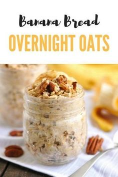 Low Carb Recipes To The Prism Weight Reduction Program Banana Bread Overnight Oats. Wake Up To Fresh Banana Bread, But Not Your Typical Banana Bread. Make These Overnight Oats Ahead Of Time And Breakfast Is Ready Right When You Wake Up # Baked Banana, Banana Bread, Healthy Breakfast Recipes, Healthy Recipes, Healthy Meals, Healthy Breakfasts, Breakfast Ideas, Gourmet Recipes, Cooking Recipes