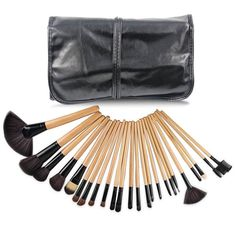 EmaxDesign Makeup Brush Set 24 Pieces Professional Wood handle Foundation Blending Blush Eyeliner Face Liquid Powder Cream Cosmetics Brushes Kit With Case ** Want additional info? Click on the image.