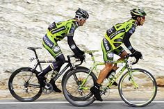 Rock Racing riders Victor Hugo Pena and Mario Cipollini.
