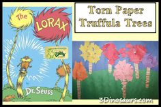 Torn Paper Truffula Trees – The Lorax | 3 Dinosaurs