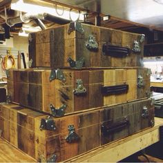 """""""Treasure chest"""" pedalboard cases made from old pallets by Carl and Roberts."""
