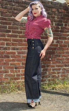 Miss Mole Vintage Shop - Rockabilly, Retro, & Vintage Mode Rockabilly Jeans, Rockabilly Pin Up, Rockabilly Outfits, Rockabilly Fashion, 1940s Fashion, Vintage Fashion, Mom Fashion, Ladies Fashion, Marlene Jeans