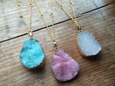 Orbit Druzy Crystal Necklaces - Gold Large Quartz Rough Raw Pendant, Geometric Plated Chain Necklace Crystals Pastel Pink Blue Green White