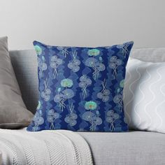 Egyptian Sacred Waterlilies - Blue, Throw Pillow by Olooriel on Redbubble | #waterlilies #throwpillow #homedecor #throwpillows #pillow #pillows #redbubble