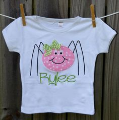 Personalized Halloween Spider Applique Shirt or Onesie for Boy or Girl on Etsy, $25.00