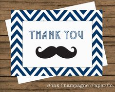 Mustache Thank You Card Navy Chevron INSTANT by PinkChampagnePaper, $5.00
