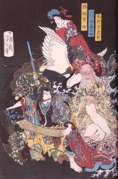 Figures to the japanese Mythology, Antique Color-Woodprint from Yoshitoshi