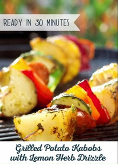 Grilled Potato Kabobs are made to be customized. Tailor-make this recipe using your favorite spices and delicious chicken sausage. Then, top it off with Lemon Herb Drizzle for a simply sizzling meal! Healthy Grilling, Grilling Recipes, Grilling Ideas, Healthy Meals, Kabob Recipes, Recipies, Vegan Recipes, Dessert Recipes, Veggie Dinner