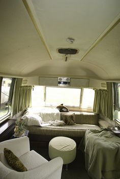 1969 Airstream Ambassador by bolerific, via Flickr. Alternative furniture and nice color palate