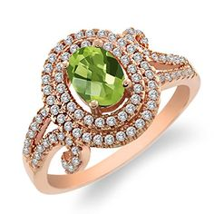 2.25 Ct Oval Checkerboard Green Peridot 925 Rose Gold Plated Silver Ring