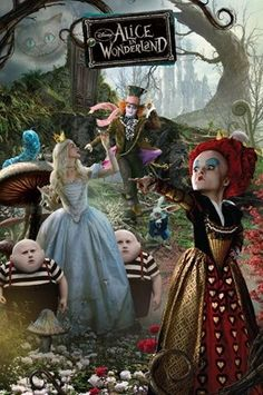 A collage of characters from Alice in wonderland