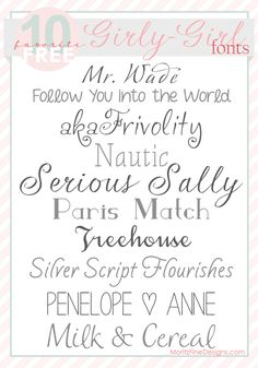 Free Font Download...faves: Penelope Anne, Serous Sally, Silver Script Flourishes